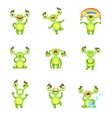 Green Monster Character Different Emotions And vector image