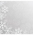 Christmas background with hearts and snowflakes vector image