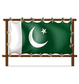 A wooden frame with the flag of Pakistan vector image
