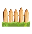 Cartoon rural wooden fence in green grass vector image