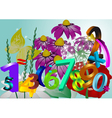 flowers and numbers vector image