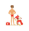 male lifeguard in red shorts with equipment on the vector image