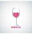 wine glass love heart concept design background vector image