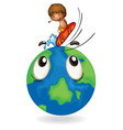 boy surfing on earth globe vector image