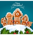 Merry Christmas gingerbread house poster vector image
