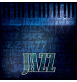 abstract grunge jazz background with piano on blue vector image
