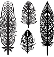 Set of ethnic tribal feathers vector image