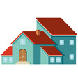 blue house with red roof vector image