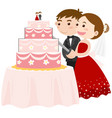 bride and groom cutting wedding cake vector image