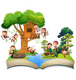 Monkeys playing at the treehouse vector image