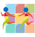 Relay running icon on colors background vector image