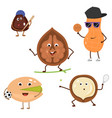 set of funny characters from sports nuts vector image