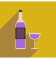 Flat web icon with long shadow glass of wine vector image