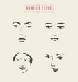 women s faces contours paintbrush sketch vector image vector image