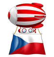 The flag of Czech Republic and the floating vector image
