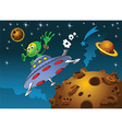 Space scene with rocket and alien vector image