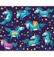 Cute seamless pattern with unicorns in the night vector image