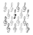 Doodle set of black treble clef vector image