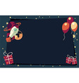 Banners with balloons presents rocket ship vector image