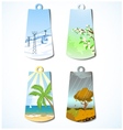 Set of four badges with seasonal backgrounds vector image