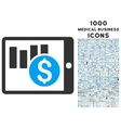 Sales Chart on Pda Icon with 1000 Medical Business vector image