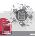Paper and hand drawn document emblem with icons vector image vector image