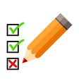Checklist and pencil Checking off tasks White vector image