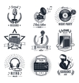 Karaoke Elements Monochrome Vintage Emblems vector image