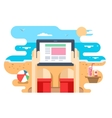 Tablet in hand on beach sea vector image