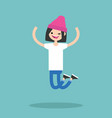 young winking jumping girl flat editable vector image
