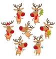 Rudolf reindeer with Christmas tree gifts vector image