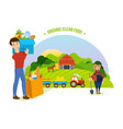 organic clean food farm and farmland village vector image