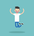 young winking jumping bearded guy flat editable vector image