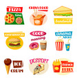fast food icons of sandwich drink and snack vector image vector image