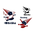 Bowling strike emblems with balls and ninepins vector image