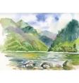 Watercolor summer river landscape vector image
