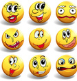 Facial expression on yellow ball vector image
