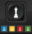Chess king icon symbol Set of five colorful vector image