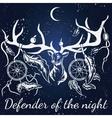 deer White silhouette Dream catcher vector image