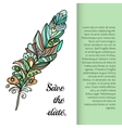 Feather painted in the style ornament vector image