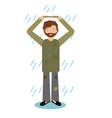 homeless man standing in rain vector image