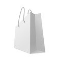 One classic white shopping bag isolated on white vector image