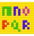 Alphabet construction lego brick blocks 3 vector image vector image