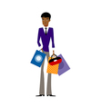 Close-up of man holding shopping bag vector image vector image