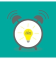 Alarm clock with yellow idea light bulb icon Flat vector image