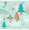 Christmas card with penguins vector image vector image