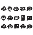 black speech bubble smileys icons vector image