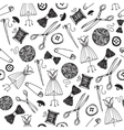 hand drawn sewing seamless background vector image