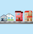 neighborhood scene with many houses vector image