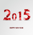 New Year card with red triangular pattern vector image